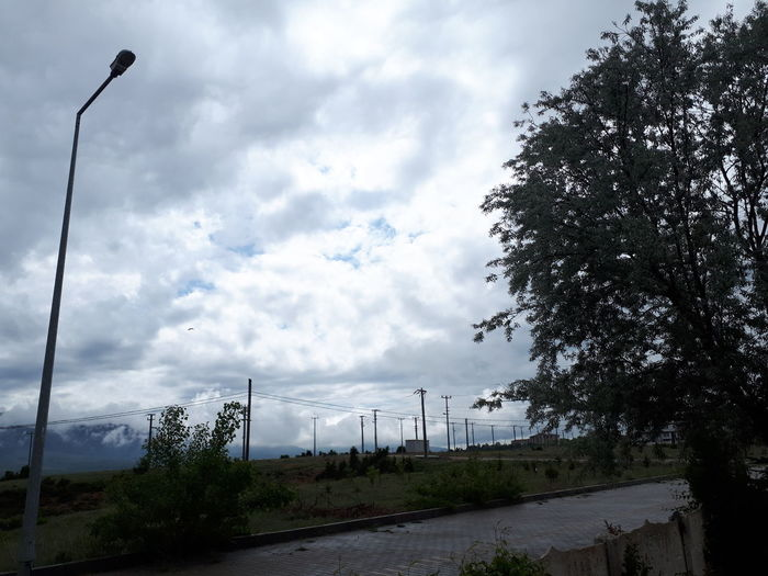 Low angle view of street against sky