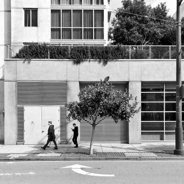 Arrow Black And White Black And White Photography Building Exterior Bw California City Day Men Outdoors People Real People Samsung Galaxy S III San Francisco San Francisco In Black And White SF Snapseed Street Photography Tree Two People Walking