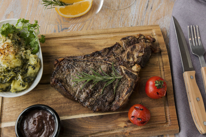 Beef Close-up Cutting Board Day Directly Above Food Food And Drink Fork Freshness Grill Beef Steak Healthy Eating High Angle View Indoors  Meat No People Plate Ready-to-eat T-bone Table Vegetable