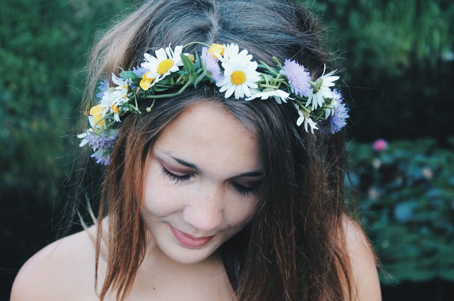 Blooming Close-up Confidence  Contemplation Flower Flower Head Focus On Foreground Fragility Freshness Front View Happiness Looking At Camera One Person Person Petal Portrait Serious Young Adult Young Women Face Flowers Nature Outdoors Forest Water Lillies