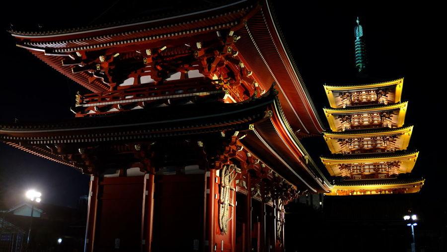 Exterior of senso-ji in city at night
