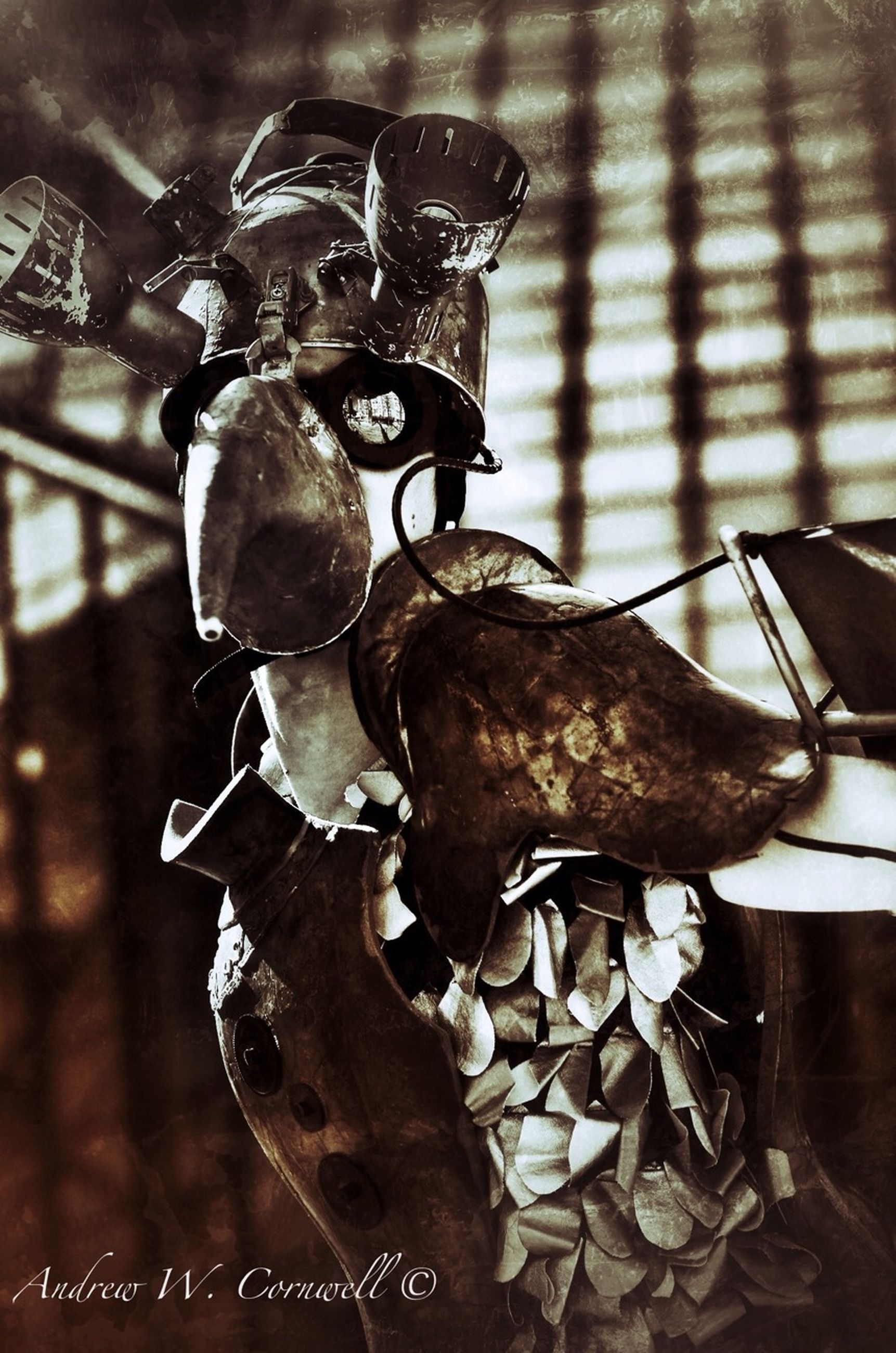 close-up, animal themes, focus on foreground, animal representation, metal, indoors, one animal, art and craft, no people, horse, day, art, metallic, animals in the wild, selective focus, creativity, hanging, black color, wildlife