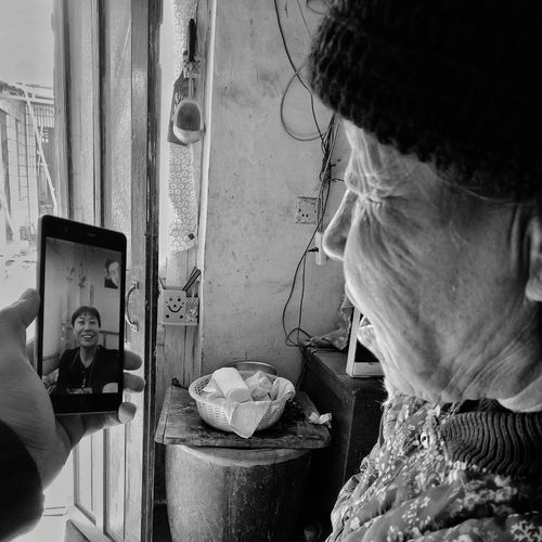 Women Real People Indoors  People Human Body Part Video Chat PhonePhotography A New Year Call Black And White Black & White Phone Photography