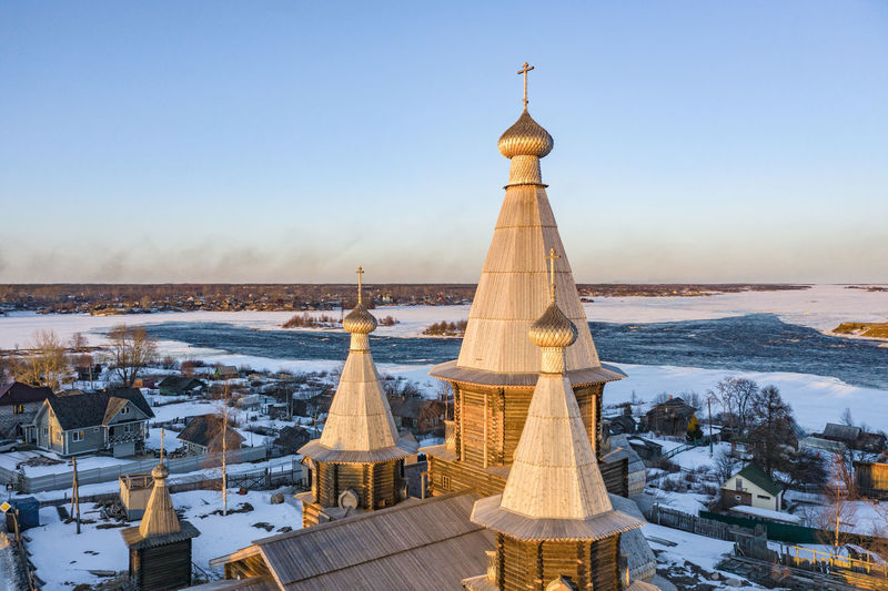 View of church against clear sky during winter