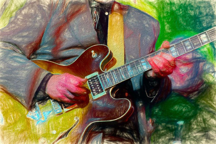 Music Water Colour Guitar Guitarist Impressionism Jazz Music Musical Instrument Solo