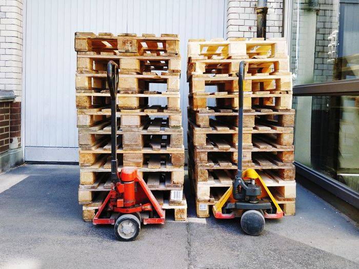 Stack of wooden pallets to be distributed
