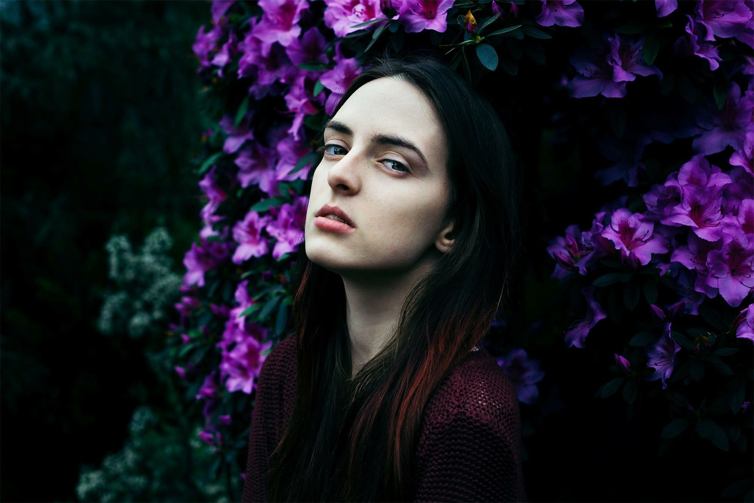 flower, young adult, young women, portrait, looking at camera, front view, person, beauty, lifestyles, close-up, long hair, focus on foreground, fragility, headshot, casual clothing, growth, pink color