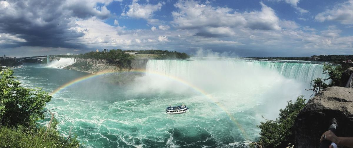 Rainbow Ontario Niagara Falls Canada Niagara Water Cloud - Sky Rainbow Beauty In Nature Sky Scenics - Nature Nature