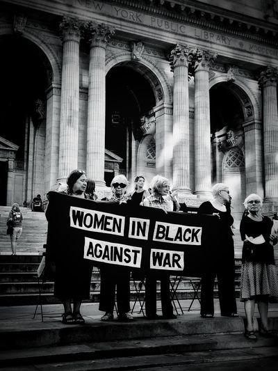 I Heart New York Women In Black Against War New York NYC Women Standing Blackandwhite Against War