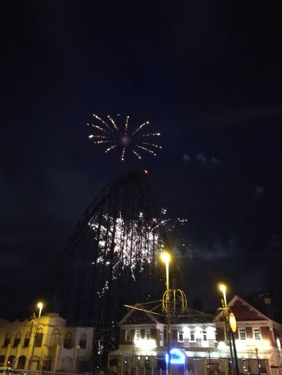 Blackpool Pleasure Beach Fireworks Fireworks handheld phone photogra Fireworks Handheld Phone Photography Blackpool Pleasure Beach The Big One  Theme Park Night Photography No Filter Long Exposure