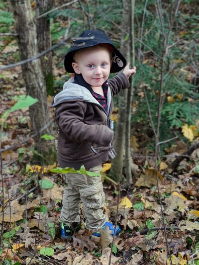 Portrait of cute boy standing in forest