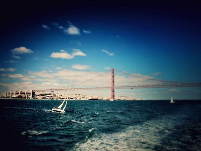 Lisbon Water Sea Sky Cloud - Sky Built Structure Architecture No People Architecture Portugal Pic Olympus Pen Cool_capture_ Ship Bestoftheday AmatorPhotographer Lisboa🇵🇹 Bridge San Francisco Lisbon Sailboat Vacations
