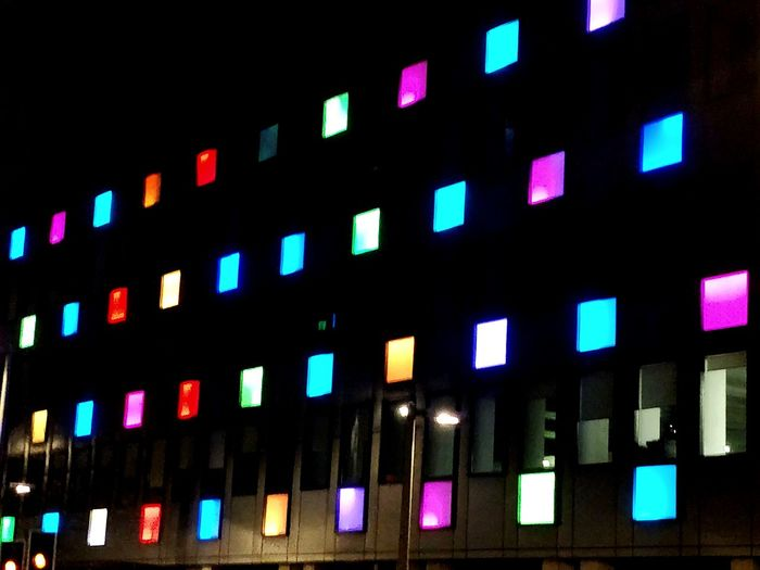 Coloured squares Architecture Window Illuminated Multi Colored