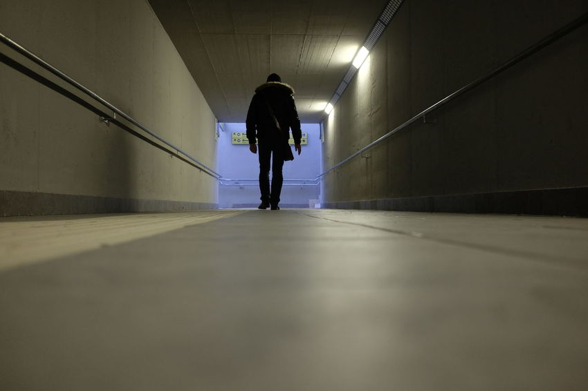 Dark Station Underpass Background Concept Corridor Danger Dangerous Darkness And Light Illuminated Men One Person Subway Walking