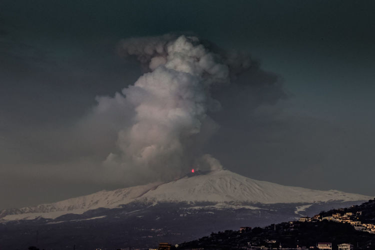Catania Mountain Volcano Sky Smoke - Physical Structure Beauty In Nature Erupting Environment Geology Power In Nature Power Cloud - Sky Landscape No People Scenics - Nature Nature Land Cold Temperature Non-urban Scene Active Volcano Outdoors Mountain Peak Volcanic Crater Pollution Snowcapped Mountain