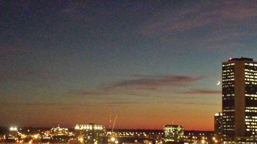 Cityscape City Lights Illusion Perspective Light Sunset_collection Skyline Sky_ Collection Sunset Luna La Luna Moon Shots Crescent Moon