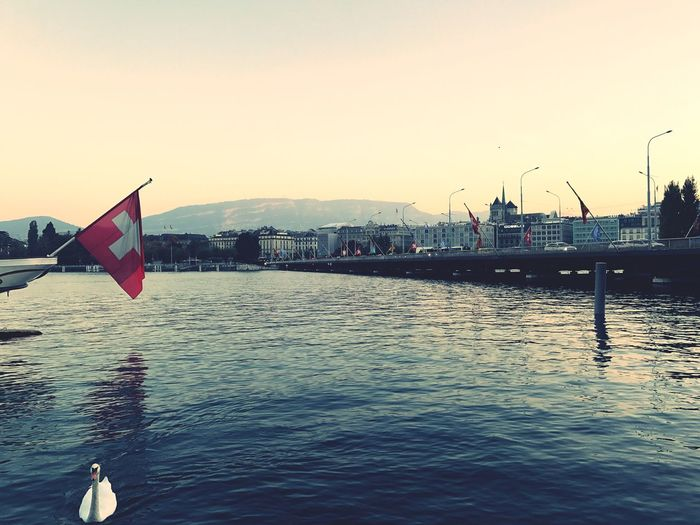 Geneva Geneva, Switzerland, Europe, European, Geneva Lake, Lake, Water, Seagulls, Birds, Mountains, Cloudy, Clouds Patriotism Flag Water River Waterfront Clear Sky Building Exterior No People Sky Sunset Outdoors Nautical Vessel Day Architecture Cultures Nature