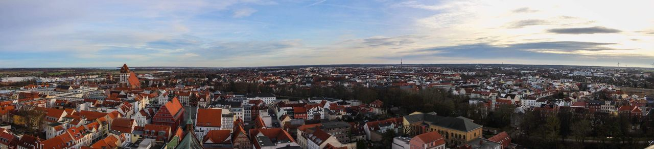 Greifswald Panorama Cityscape Architecture City Crowded Building Exterior Sky Built Structure High Angle View Travel Destinations Cloud - Sky Outdoors Panoramic Nature Day