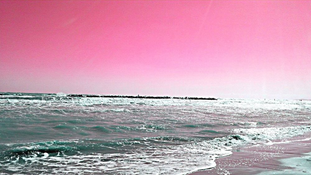 Pinksky Horizon Over Water Cielo Rosa Marecielo Mareecielo Watersky Onde Waves Adriatico No People Beach Battigia Sand Endofsummer Finestate Scenics Ventoinspiaggia Windybeach Strongnature Forzadellanatura💪🏻 Day Horizontal Composition Fuxia