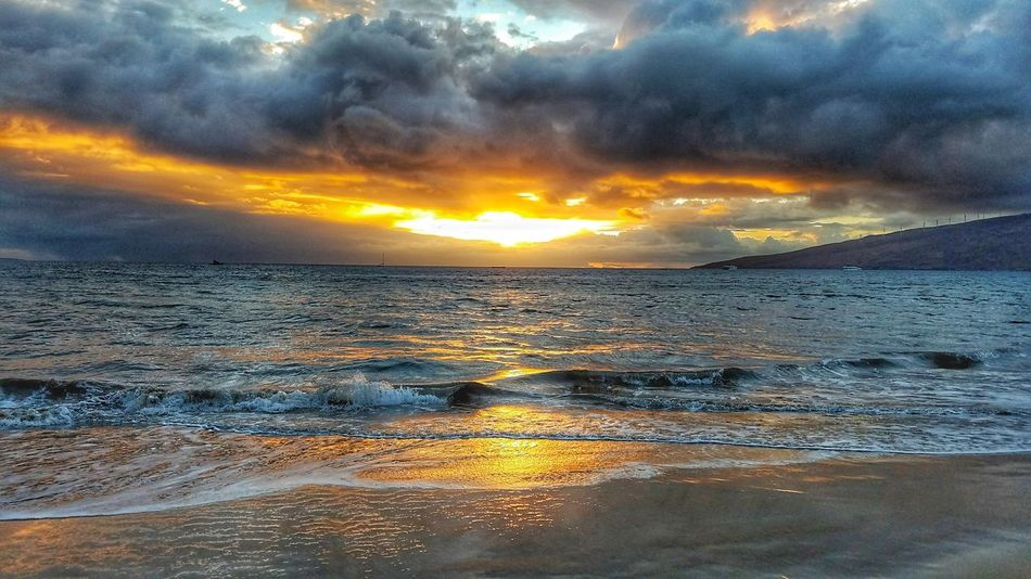 Sunset Reflection Dramatic Sky Beauty In Nature Nature Sea Water Wet No People Outdoors Scenics Sky Cloud - Sky Natural Phenomenon Storm Cloud