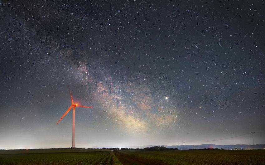 Milkyway over wind farm