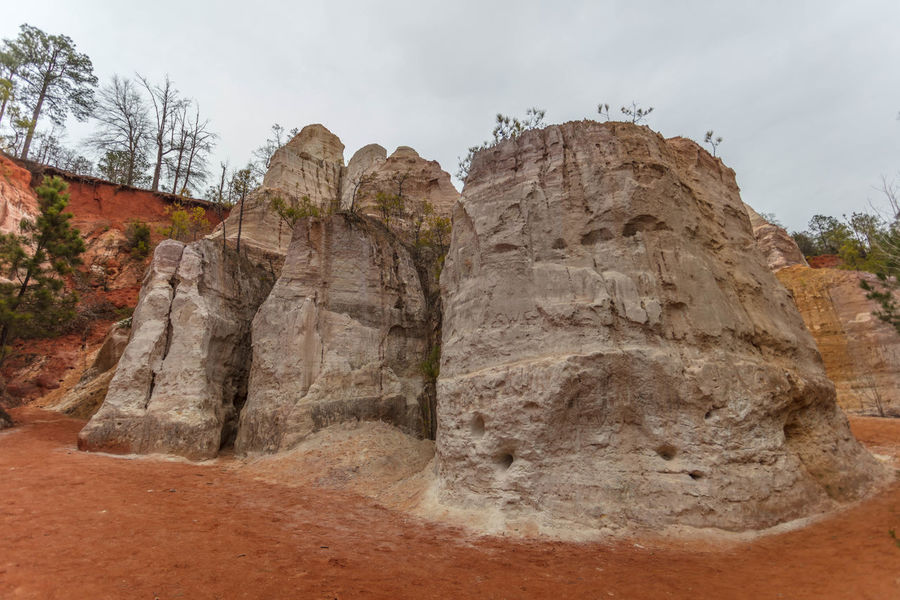 Providence Canyon Bottom Canyon Clay Georgia Landscape Orange Red Rocks Sand Sky Trees