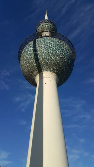 """The main tower of three towers that called """"Kuwait Towers"""" in Kuwait city . Arabian Kuwait Kuwait Towers Arabic Style Architecture Blue Built Structure City Day Low Angle View No People Outdoors Sky"""