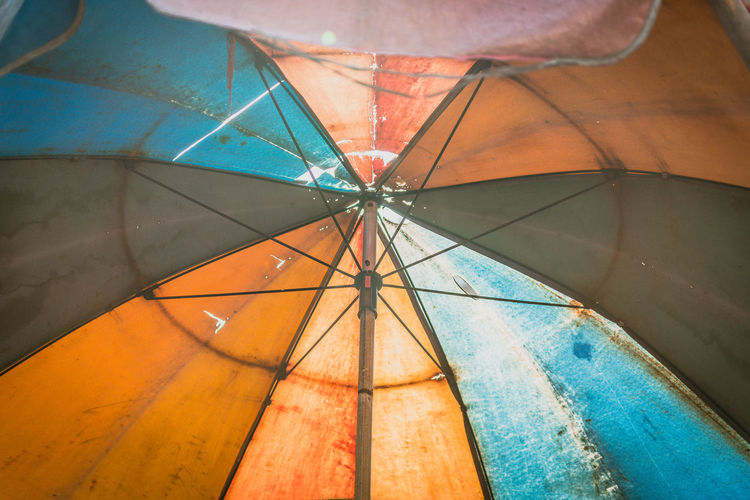 Umbrella Close-up No People Low Angle View Backgrounds Indoors  Pattern Full Frame Protection Day Security Multi Colored Glass - Material Blue Nature Single Object Transparent Orange Color Directly Below