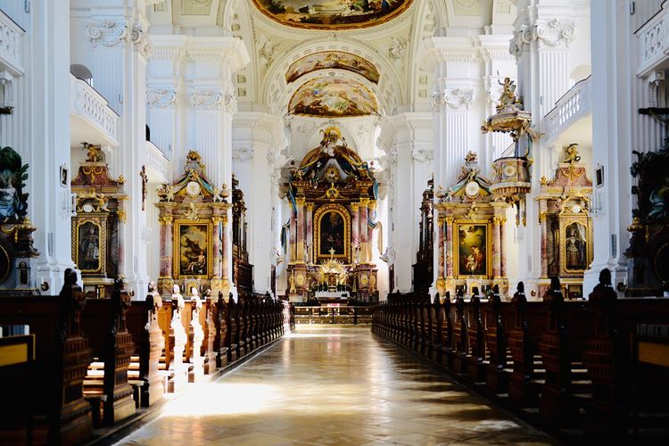 Klosterkirche St Verena Baroque Spirituality Religion Architecture Belief Place Of Worship Built Structure Building Travel Destinations The Past Indoors  Altar Travel History Tourism No People Architectural Column Ornate Aisle Ceiling Pew