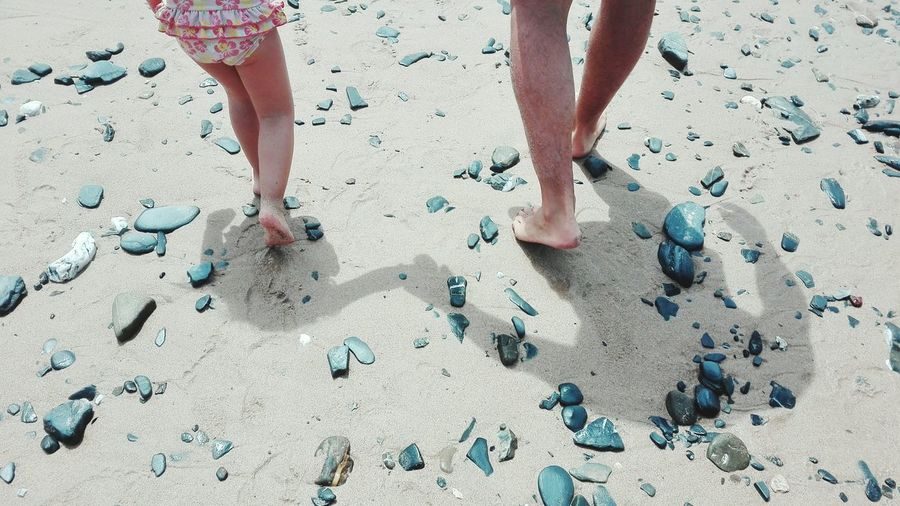 Beach Sand Low Section Human Leg Human Body Part Human Foot Barefoot FootPrint Day Togetherness Vacations Two People Adult People Summer Leisure Activity Outdoors Real People Little Girl Girl Bonding Beachphotography Man Shadows