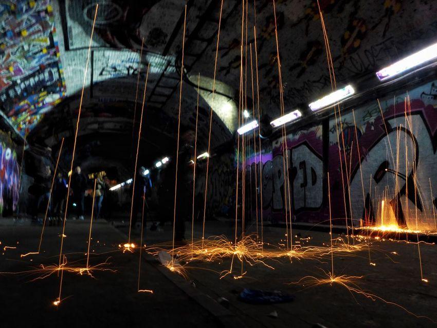 Raining fire 🔥🔥🔥 Illuminated No People Indoors  Night Tunnel Street Art Steelwoolphotography Underground Urbanphotography Urbex Street Leake St London Sparks Fire Fireworks Rain EyeEmNewHere