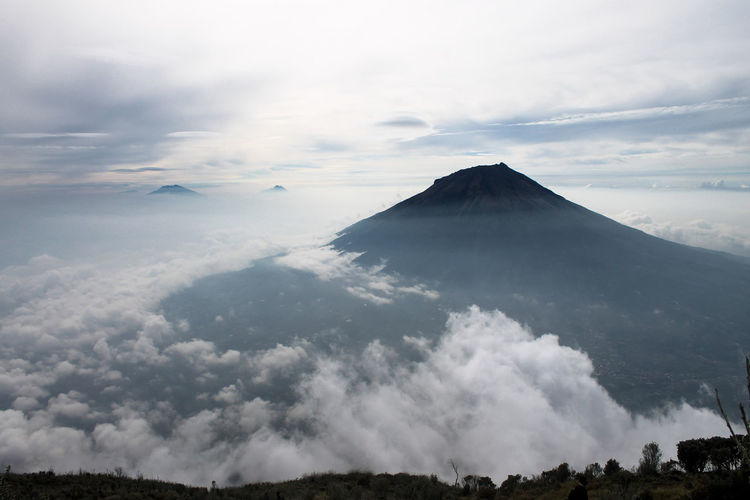 Panoramic view of volcanic landscape against sky