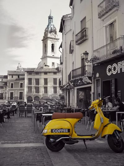 Vespa Colorsplash Blackandwhite Yellow Restaurant The Moment - 2015 EyeEm Awards Eye4photography  Perfect Match at Xativa , SPAIN España
