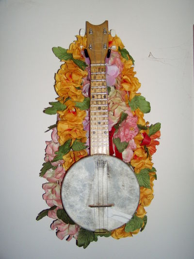 Hawaii Wall Hanging Aloha Art And Craft Banjouke Celebration Close-up Day Flower Hanging Indoors  Leaf Leisure Activity Multi Colored No People Orange Color String Instrument Studio Shot Ukulele White Background