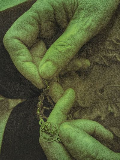 Catholic Old Hands Prayering Praying Mantis Religion Religious  Rosary Beads Senior Mature
