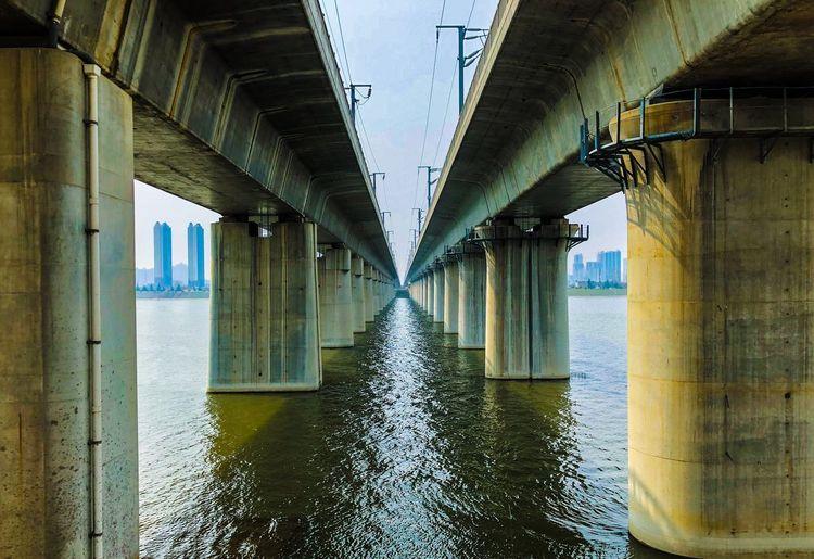 Railway Bridge Bridge - Man Made Structure Architecture Architectural Column Built Structure Connection Underneath Below No People Water Day Under