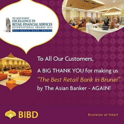 "By @bibdbrunei ""Alhamdulillah. Kepada semua pelanggan kami, setinggi-tinggi TERIMA KASIH kerana SEKALI LAGI menjadikan kami ""The Best Retail Bank in Brunei"" oleh The Asian Banker. Bibd Bibdawards Bruneianatheart Brunei theasianbanker bestretailbank"" via @PhotoRepost_app"