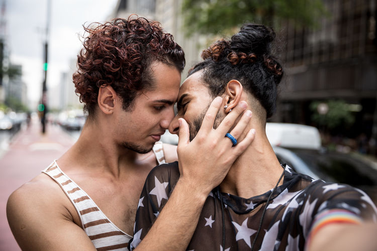Happy Gay Couple together Brazil Gay Pride Sao Paulo - Brazil Bonding Brazilian Focus On Foreground Gay Gay Boy Gayboy Headshot Heterosexual Couple Hispanic Lgbt Young Men
