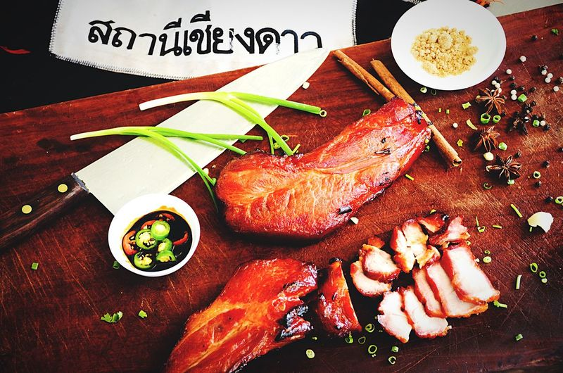 Thai red roasted pork Chiang Dao Red Pork BBQ Roasted Pork Food And Drink Text Food High Angle View Western Script Freshness Communication First Eyeem Photo