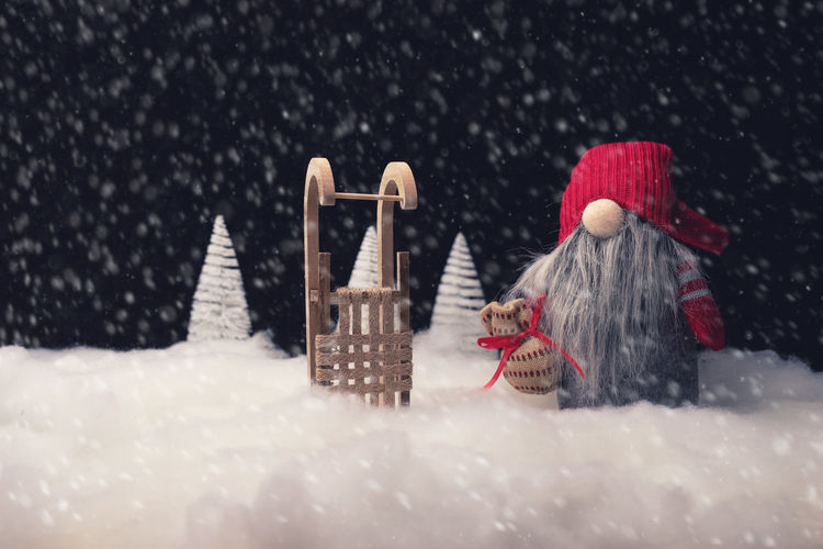 Snow Winter Cold Temperature Hat Snowing Xms Studio Shot Christmas Traditional Scenery Black Background Sleigh Red Hat Gnome Beard Night Tree Falling Snow Decoration Christmas Decoration Still Life Santa Claus Santa