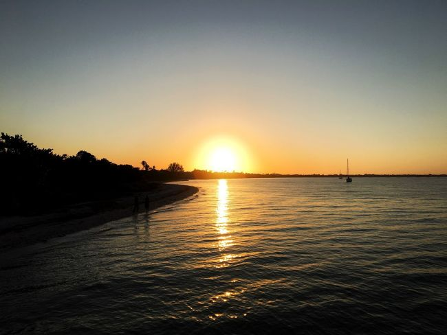 When the lights go down in the city and the sun shines down the bay Beach Sunset Chillin' Sunset Silhouettes Sundowner Sanibel Island Fort Myers Florida Sunset Sun Beauty In Nature Scenics Sea Water Nature Tranquil Scene Beach Vacations
