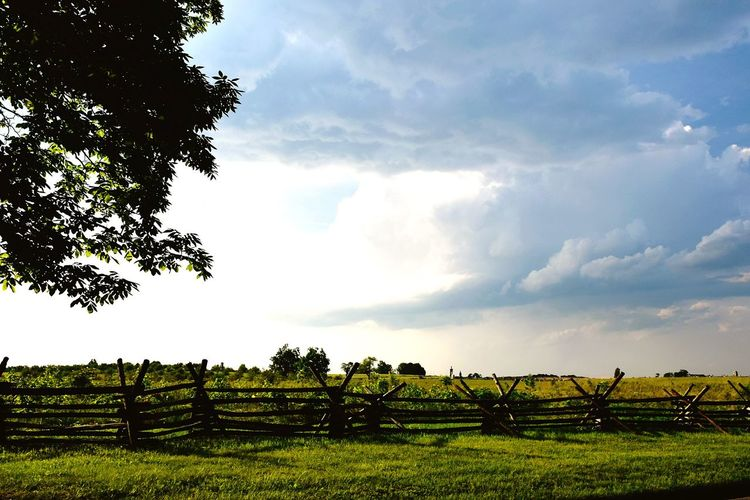 Tree Field Rural Scene Cloud - Sky Beauty In Nature Agriculture Outdoors Landscape Scenics No People Fences Fence Country Countryside Fieldscape The Week On EyeEm Outdoor Pictures Outdoor Photography Gettysburg National Military Park Gettysburg Gettysburg Pennsylvania Lost In The Landscape