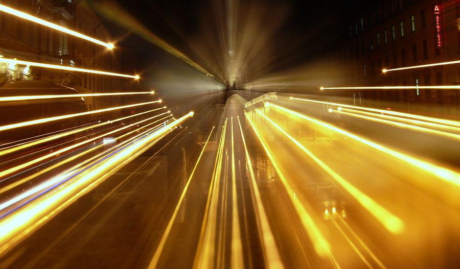 Light Trails On Street Against Orthodox Church At Night