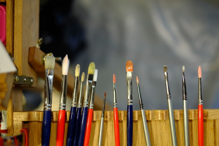 Art And Craft Art And Craft Equipment Artists Life Artists Tools Brush Choice Close-up Collection Craft Creativity Equipment Focus On Foreground Indoors  Large Group Of Objects Multi Colored No People Paint Brrushes Paintbrush Selective Focus Still Life Variation