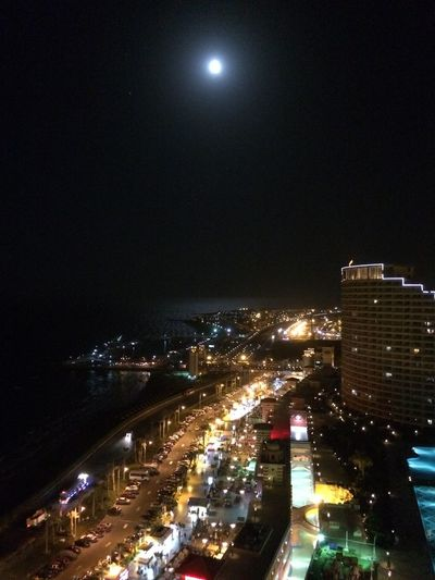 Night Relaxing Sea Light Moon Reflection Midnight Red Sea Sky