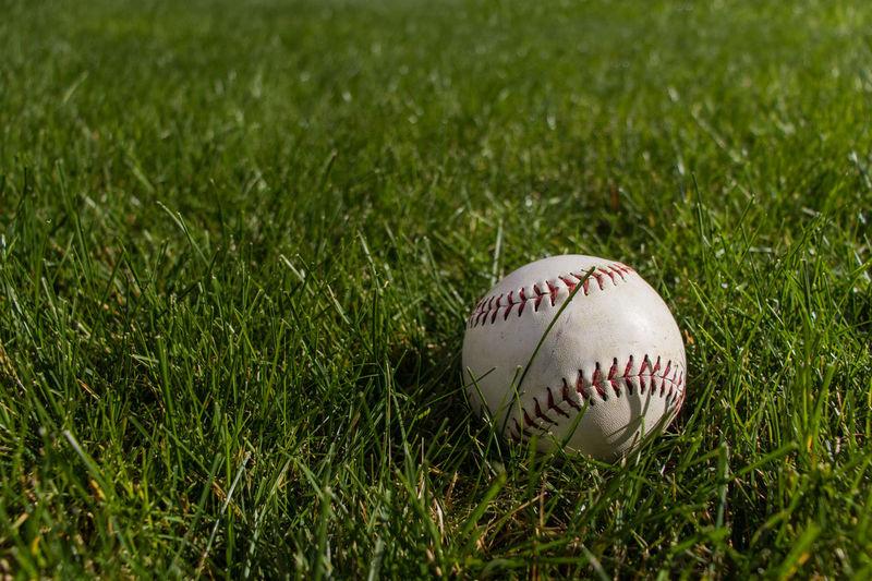 Close-up of baseball ball on field