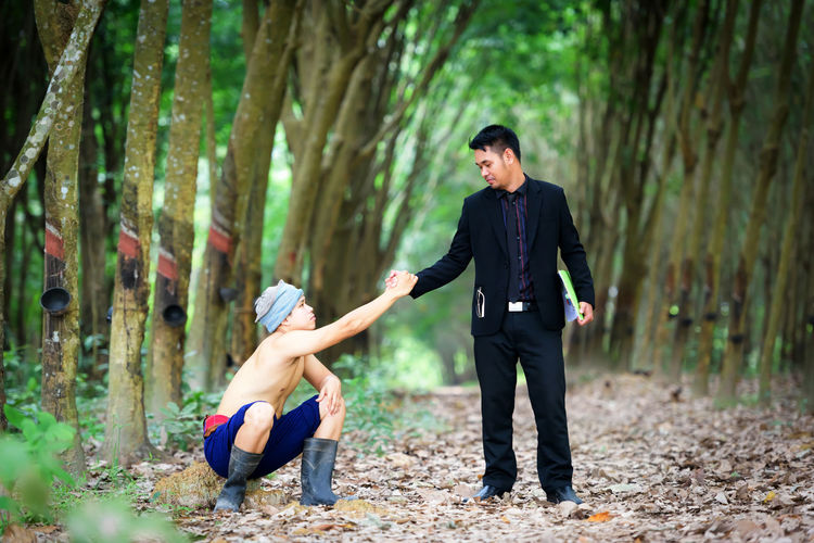 Helping hand with businessmen join hands with rubber planters while prices fall. Adult Bonding Couple - Relationship Emotion Forest Full Length Land Lifestyles Love Men Nature Outdoors People Plant Positive Emotion Real People Standing Togetherness Tree Two People Women Young Adult Young Men