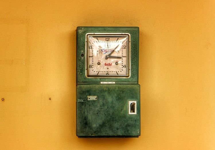 Clock in Old-fashioned Yellow Multi Colored Clock Face Clock On The Wall Clock Clocks Vintage Vintage Style Vintage Moments