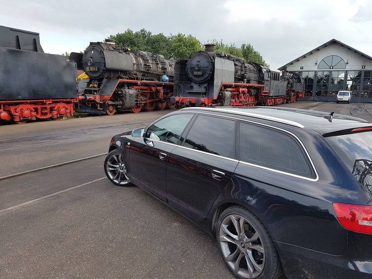 Traffic Car Transportation Outdoors Day Road No People Audi S6 Old Locomotive