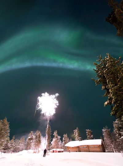 Sauna Winter Snow Outdoors Nature Night Beauty In Nature No People Firework Smoke Fireworks New Year One Person Saariselkå Lapland Finland Northern Lights Aurora Borealis Travel Destinations BYOPaper!